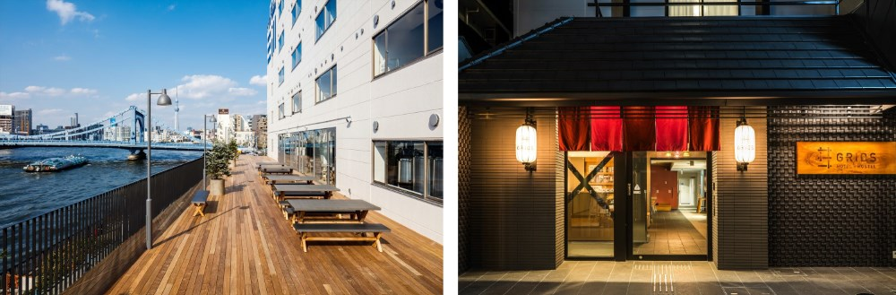 (左)THE SHARE HOTELS LYURO 東京清澄 (右)グリッズ京都四条河原町ホテル&ホステル