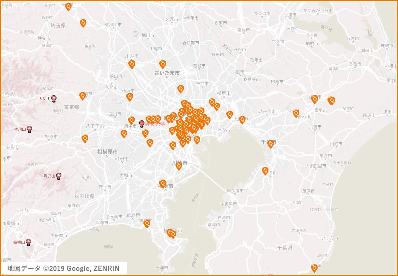 ツアープランの分布(1都3県で合計150種類)