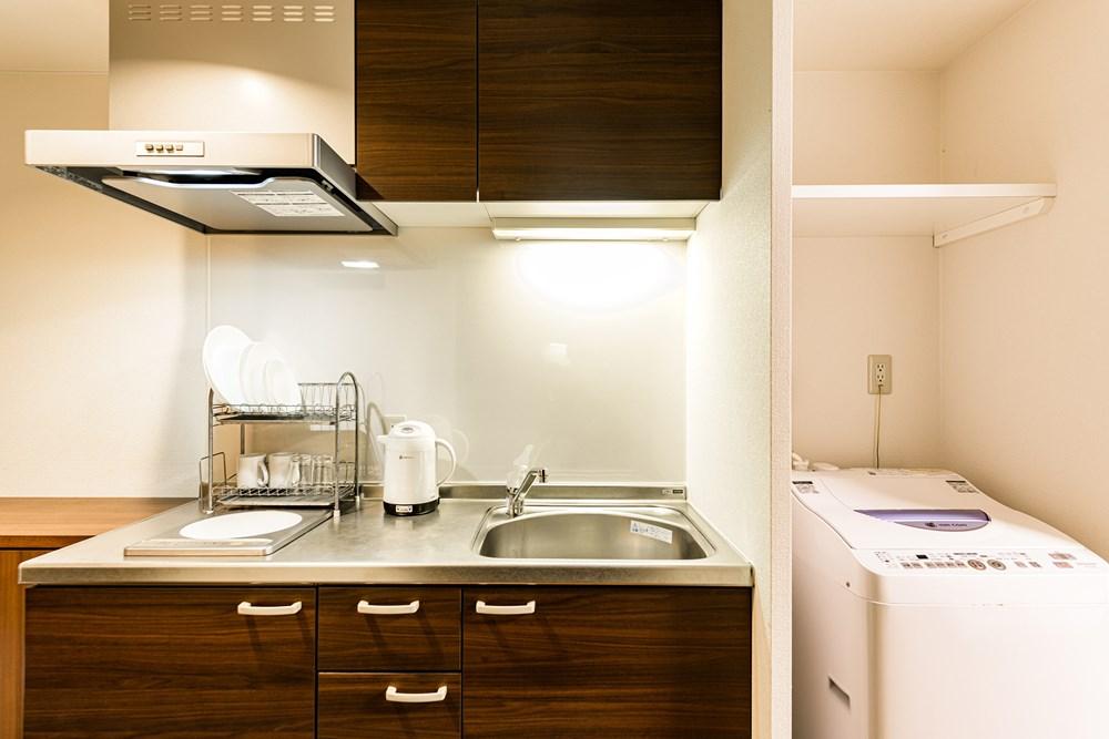 全客室キッチン、冷蔵庫、洗濯機を完備